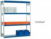 Weitspann-Grundregal Stahlpaneel 300x257x40 cm  Fachlast 400 kg Feldlast 2.500 kg