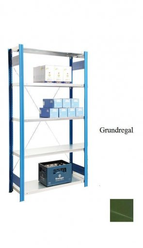 Standard-Grundregal Resedagrün  300x87x40 cm Fachlast 150 kg Feldlast 2.000 kg