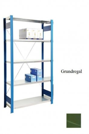 Lager-Grundregal Resedagrün  300x87x60 cm Fachlast 250 kg Feldlast 2.000 kg