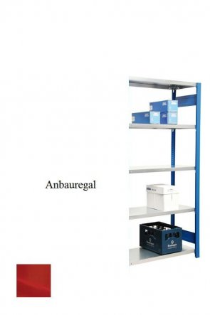 Lagerregal Plus-Anbauregal Feuerrot  250x87x50 cm Fachlast 350 kg Feldlast 2.000 kg