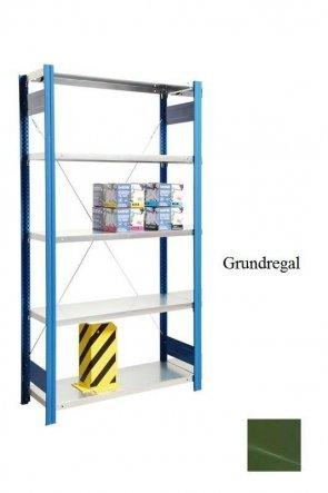 Lagerregal Plus-Grundregal Resedagrün  250x87x40 cm Fachlast 350 kg Feldlast 2.000 kg