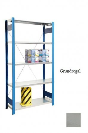 Lagerregal Plus-Grundregal Lichtgrau  300x87x30 cm Fachlast 350 kg Feldlast 2.000 kg