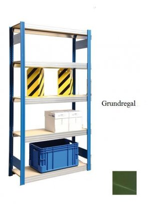 Passfeld-Grundregal Resedagrün 300x87x40 cm Fachlast 250 kg Feldlast 2.000kg