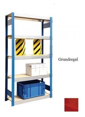 Großfach-Grundregal  Feuerrot  300x128x30 cm Fachlast 250 kg Feldlast 2.000kg