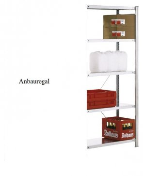 Standard-Anbauregal 250x87x40 cm Fachlast 150 kg Feldlast 2.000kg