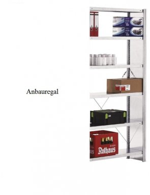 Standard-Anbauregal 250x87x40 cm Fachlast 150 kg Feldlast 2.000 kg