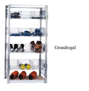 Kleinteile-Grundregal mit Gitterkörben 200x100x50 cm Fachlast 35 kg / 250 kg