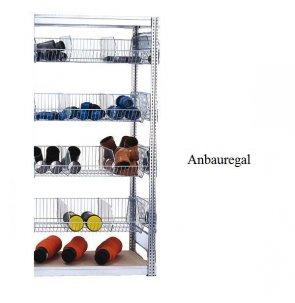 Kleinteile-Anbauregal mit Gitterkörben 200x100x50 cm Fachlast 35 kg / 250 kg