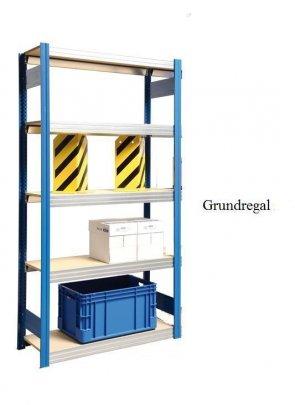 Großfach-Grundregal Enzianblau 300x128x30 cm Fachlast 250 kg Feldlast 2.000kg