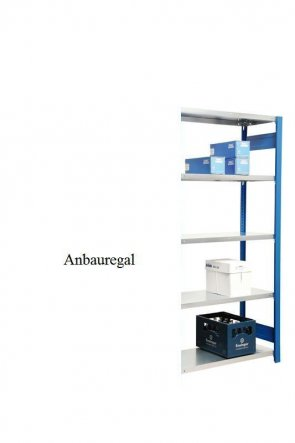 Lagerregal Plus-Anbauregal Enzianblau  300x128x40 cm Fachlast 350 kg Feldlast 2.000 kg