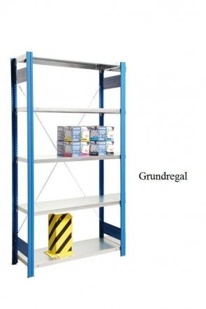 Lagerregal Plus-Grundregal Enzianblau  250x128x40 cm Fachlast 350 kg Feldlast 2.000 kg