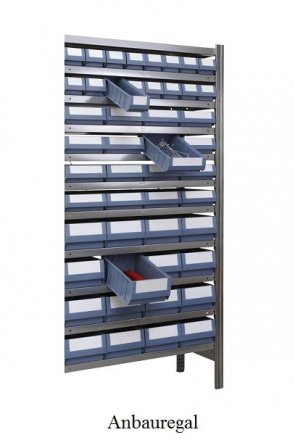 Ordnungs-Anbauregal 200x100x60 cm Fachlast 150 kg Feldlast 2000 kg (mit Regalkästen)