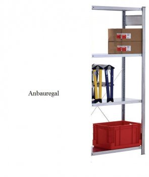 Standard-Anbauregal 200x87x40 mm Fachlast 150 kg Feldlast 2.000kg