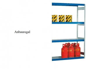 Weitspann-Anbauregal Stahlpaneel 300x175x50 cm Fachlast 400 kg Feldlast 2.500 kg