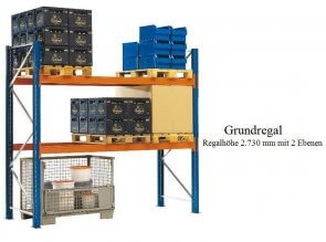 Paletten-Grundregal 273x270x110 cm Fachlast 2.120 kg Feldlast 4.000 kg